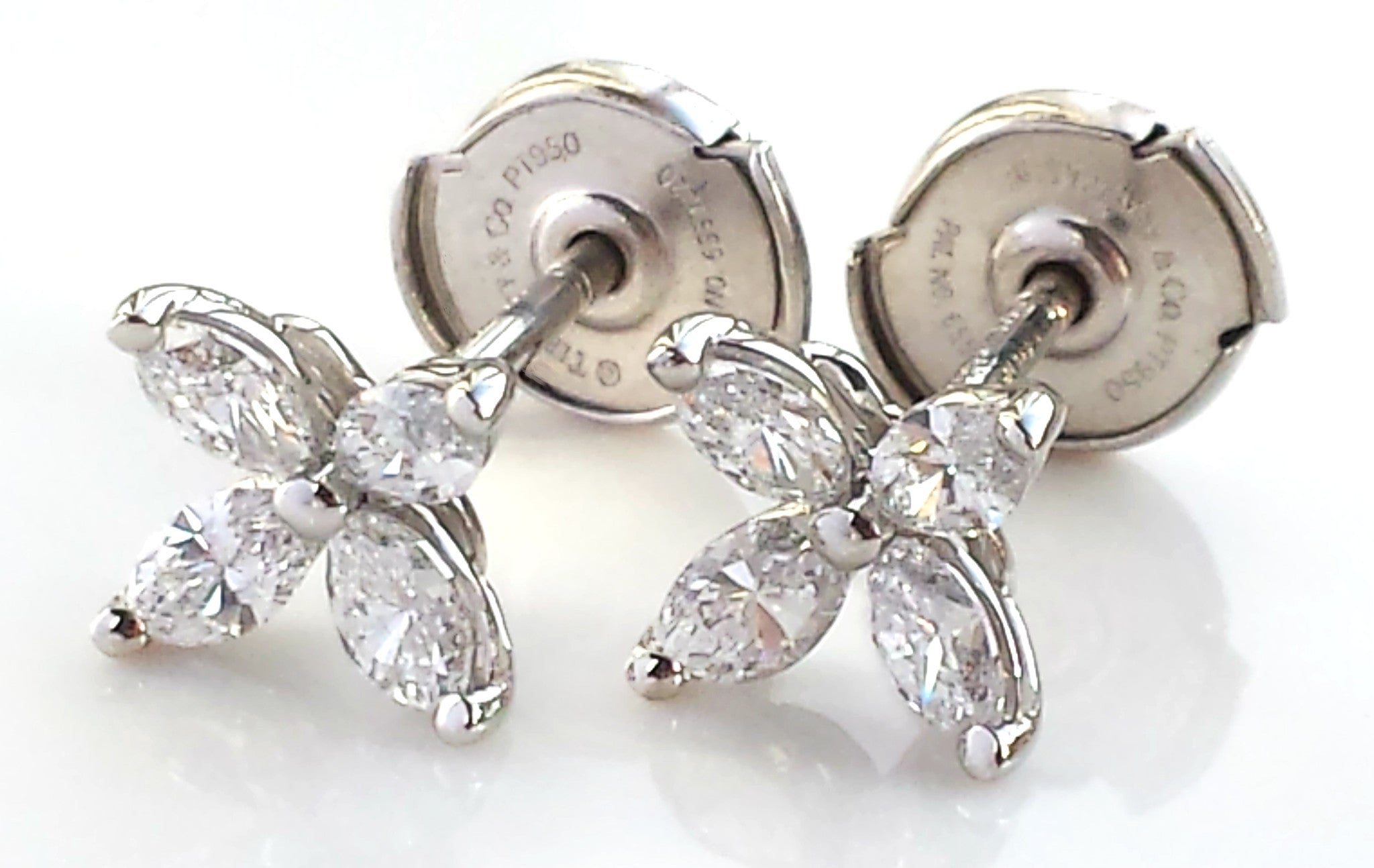 a1826e63f Tiffany & Co. Diamond & Platinum Victoria Earrings 0.64ct, Small, Original  Box
