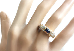 Vintage Cartier 1990s Sapphire & Pavé Set Diamond Dome Bombe Ring, Size 52