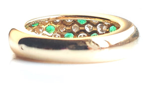 Vintage Cartier 'Mimi' Emerald & Diamond Pavé Dome Bombe Ring in 18k Gold, Size 50