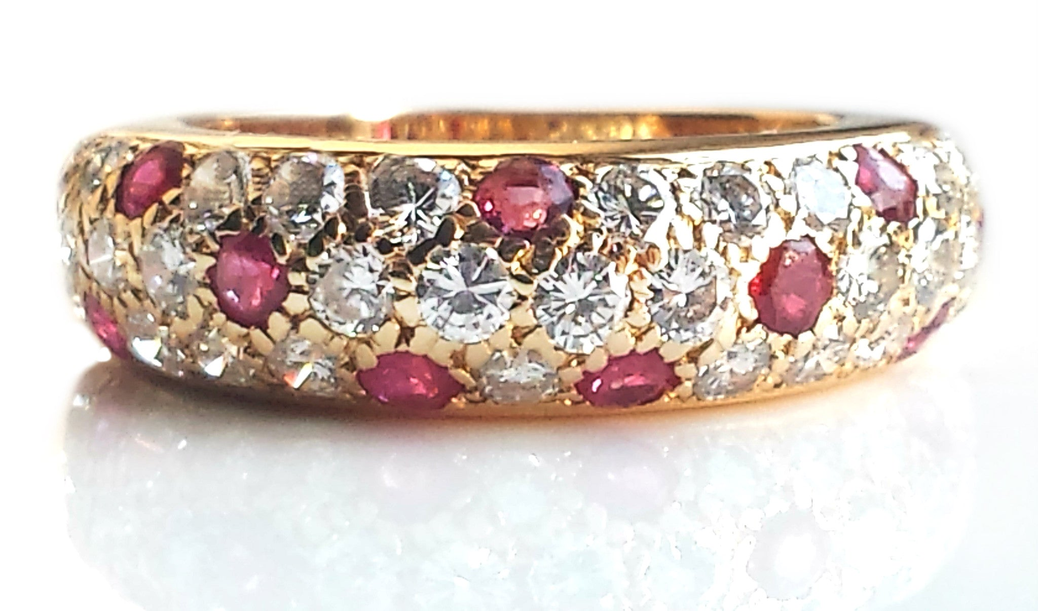 Vintage Cartier Mimi Ruby & Diamond Pavé Set Dome Bombe Ring in 18k Gold, Size 50