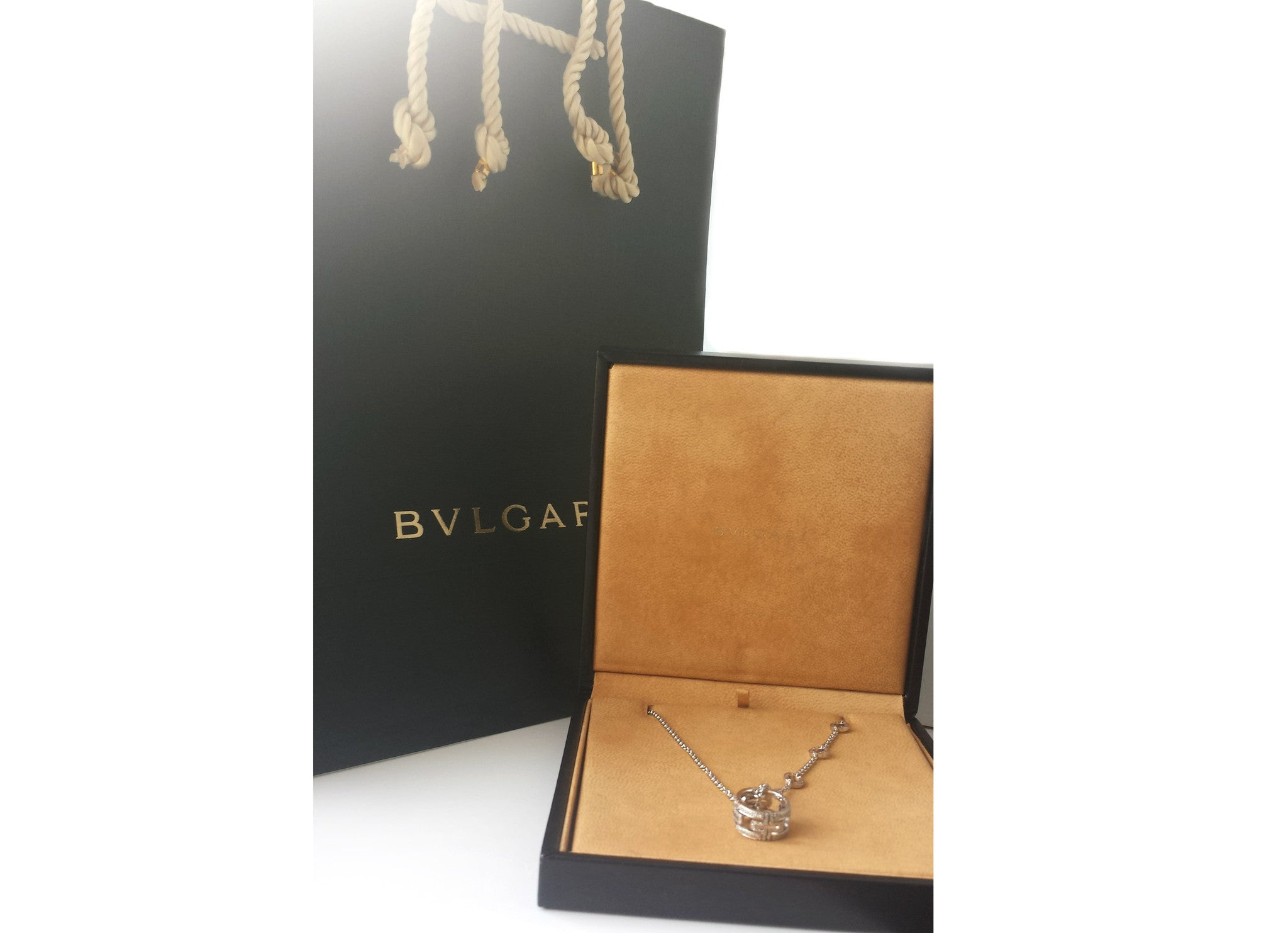 Bulgari Bvlgari Parentesi Diamond Necklace 18k White Gold with Box & Bag