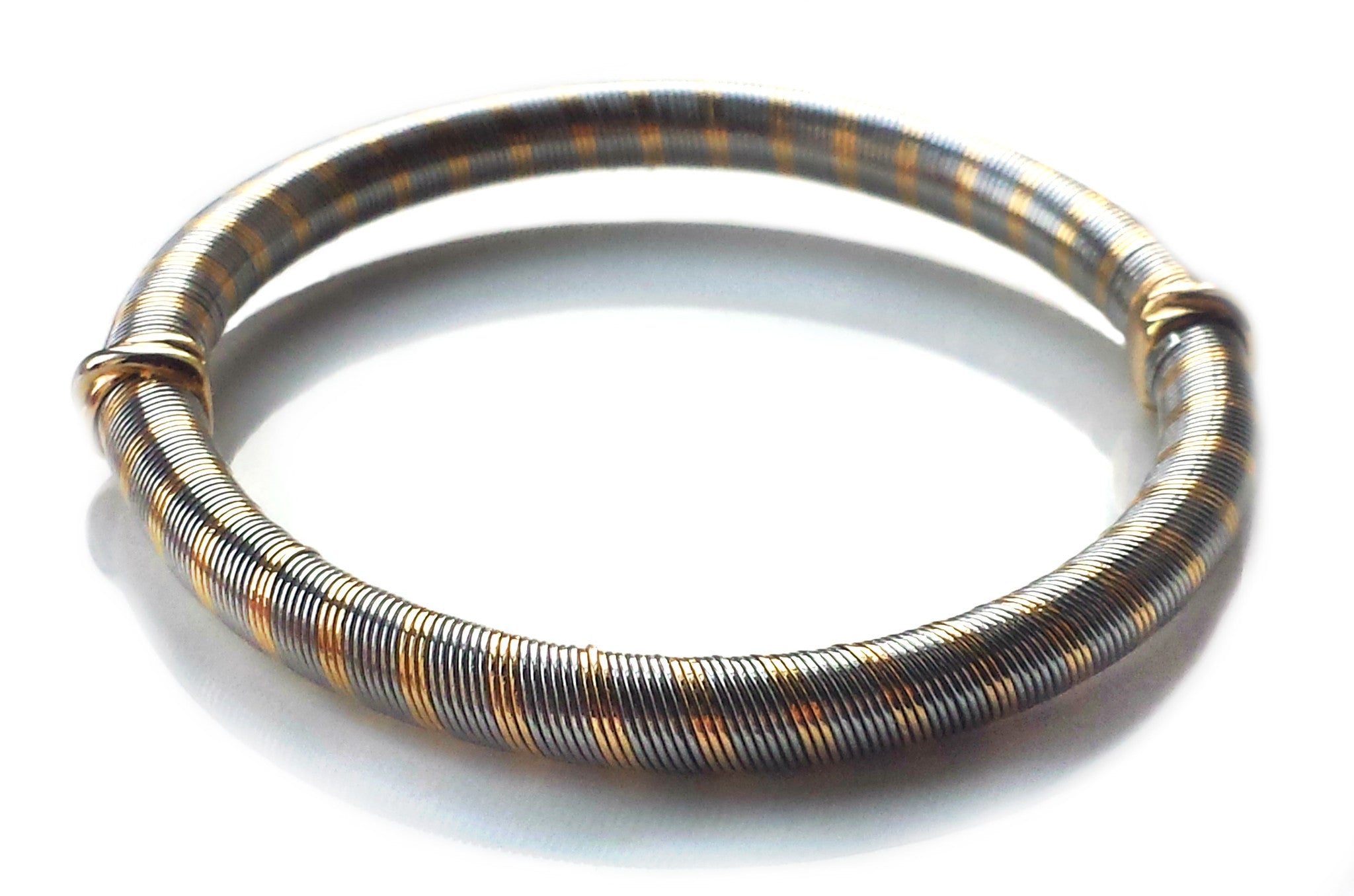 Cartier 1980s Vintage 18k Yellow Gold & Steel Wire Bracelet / Bangle, Small 18cm