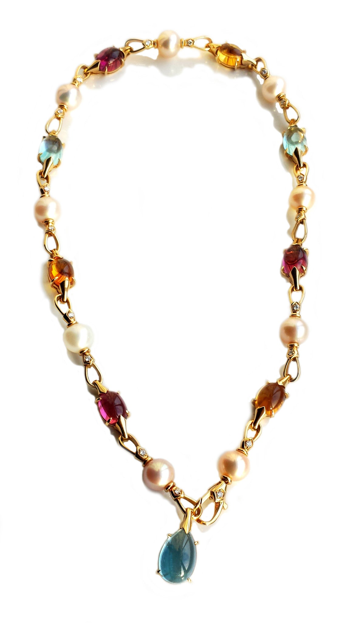 Bulgari Bvlgari Diamond, Pearl, Topaz, Tourmaline & Citrine Choker / Necklace in 18k Gold