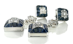 Vintage Van Cleef VCA 1960s Mystery Set Diamond Sapphire Platinum Earrings