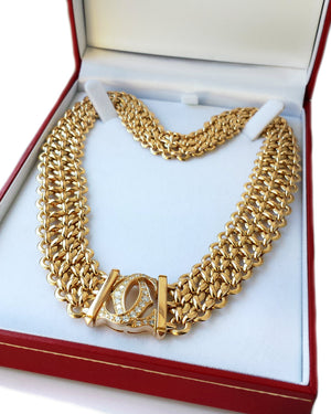 Cartier Penelope 3-row Choker / Necklace in 18k Gold with Diamonds