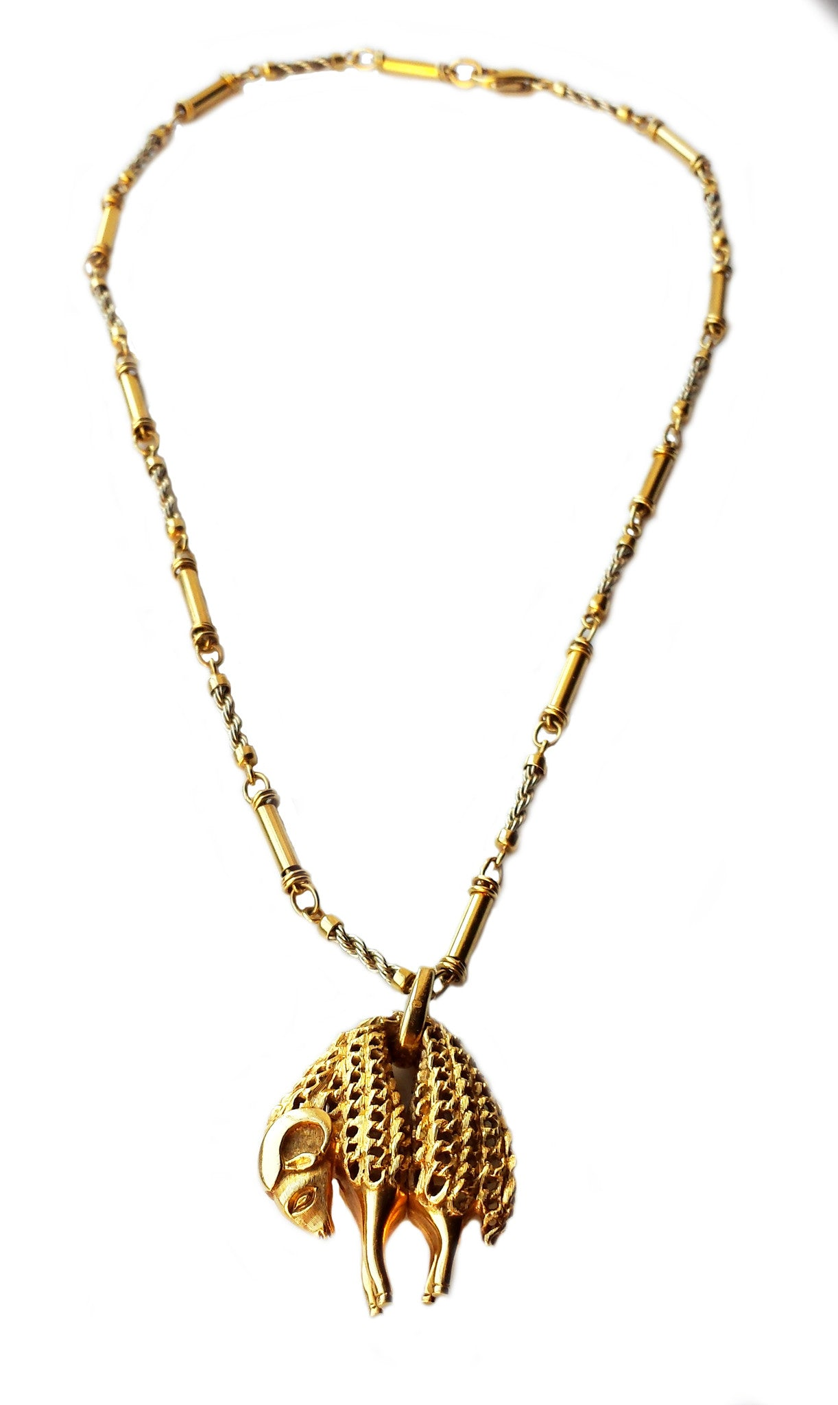 Vintage Cartier Toison D'Or Golden Fleece 18k Yellow Gold Pendant Necklace 18in