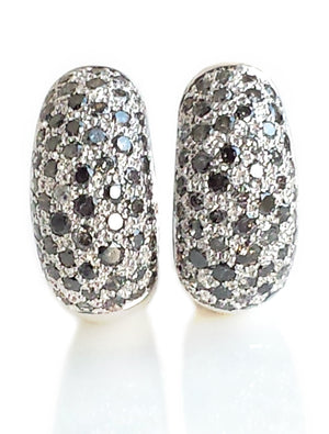 Cartier Sauvage Metissage 18k White Gold & Grey Diamond Bombe Clip Earrings