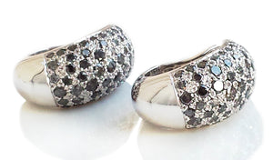 Cartier Sauvage Metissage 18k White Gold Grey Diamond Bombe Clip Earrings