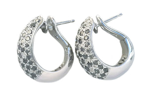 Cartier Sauvage Metissage 18k White Gold & Grey Diamond Bombe Earrings