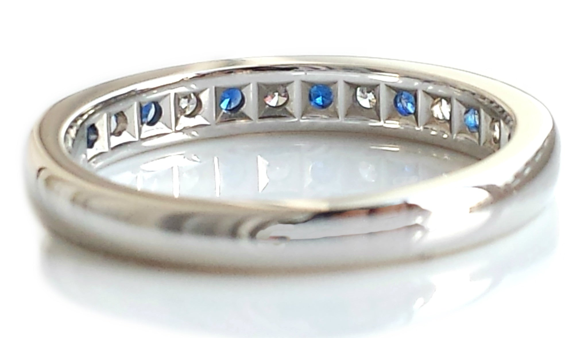 a67b72435997a Tiffany & Co Diamond Sapphire Eternity Wedding Channel Set Ring Platinum N  1/2