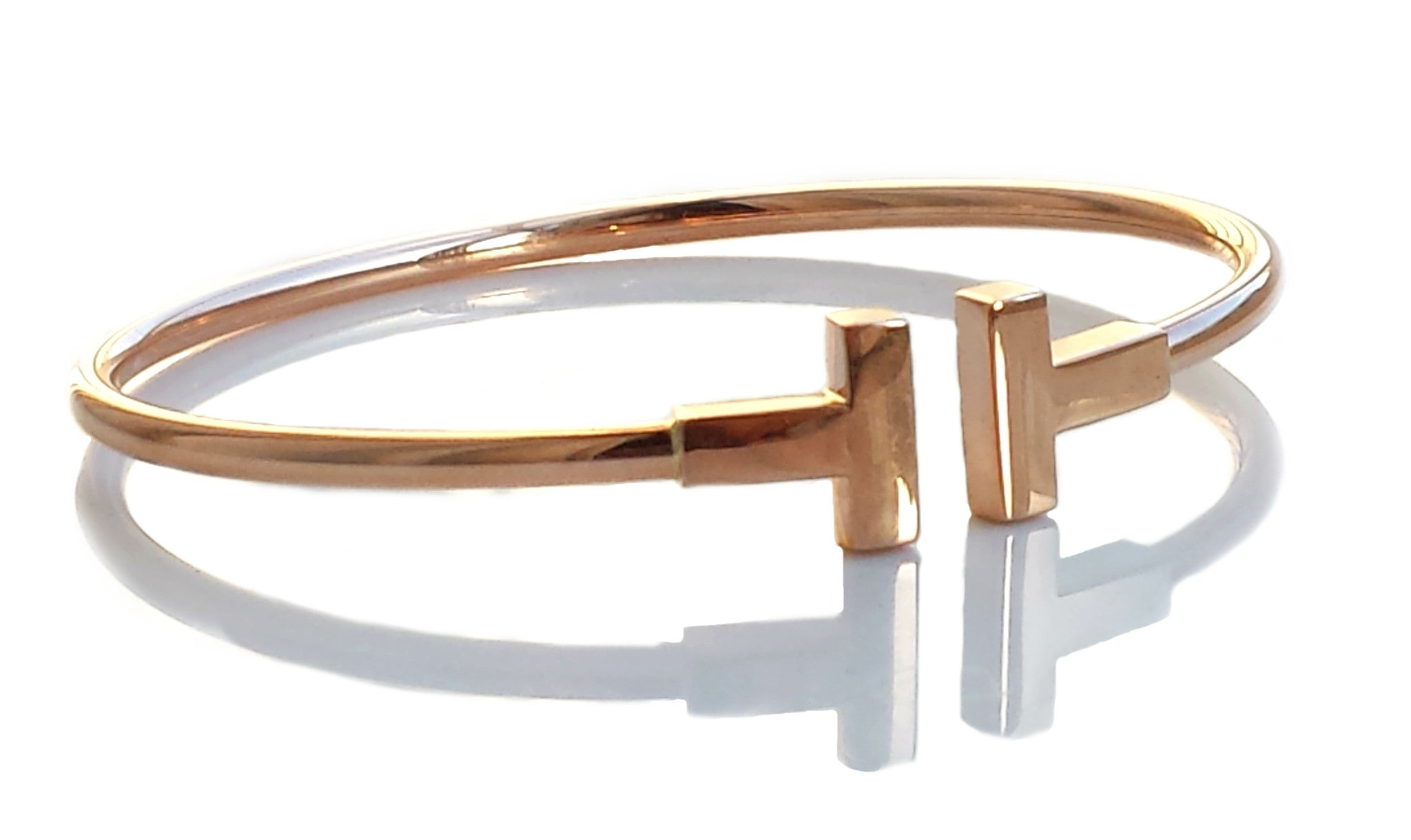 taille 40 b6038 1f961 Tiffany T 18k Rose Gold Bracelet Bangle SZ small fits up to 5.75 inch wrist