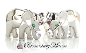 Cartier Elephant Emerald Ruby 18k White Gold Cufflinks Box