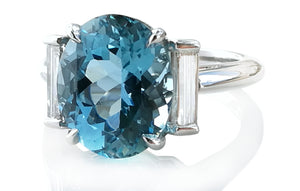 a16dc7585 Tiffany & Co. 3-Stone 4.26ct Oval Aquamarine & Baguette Cut Diamond Ring