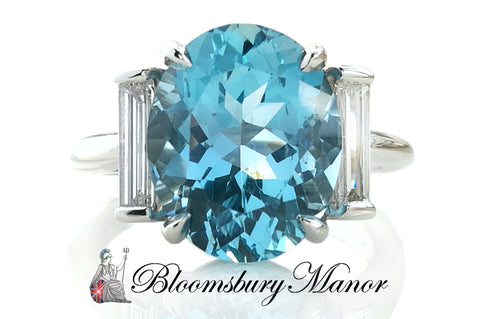 a90c86268 March Birthstone Aquamarine - Tiffany & Co Oval Ring - Bloomsbury ...