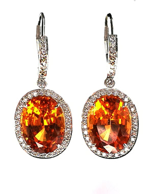 Tiffany & Co. 'Colours Collection' 16.14ct Spessartite Garnet & Diamond Earrings in Platinum