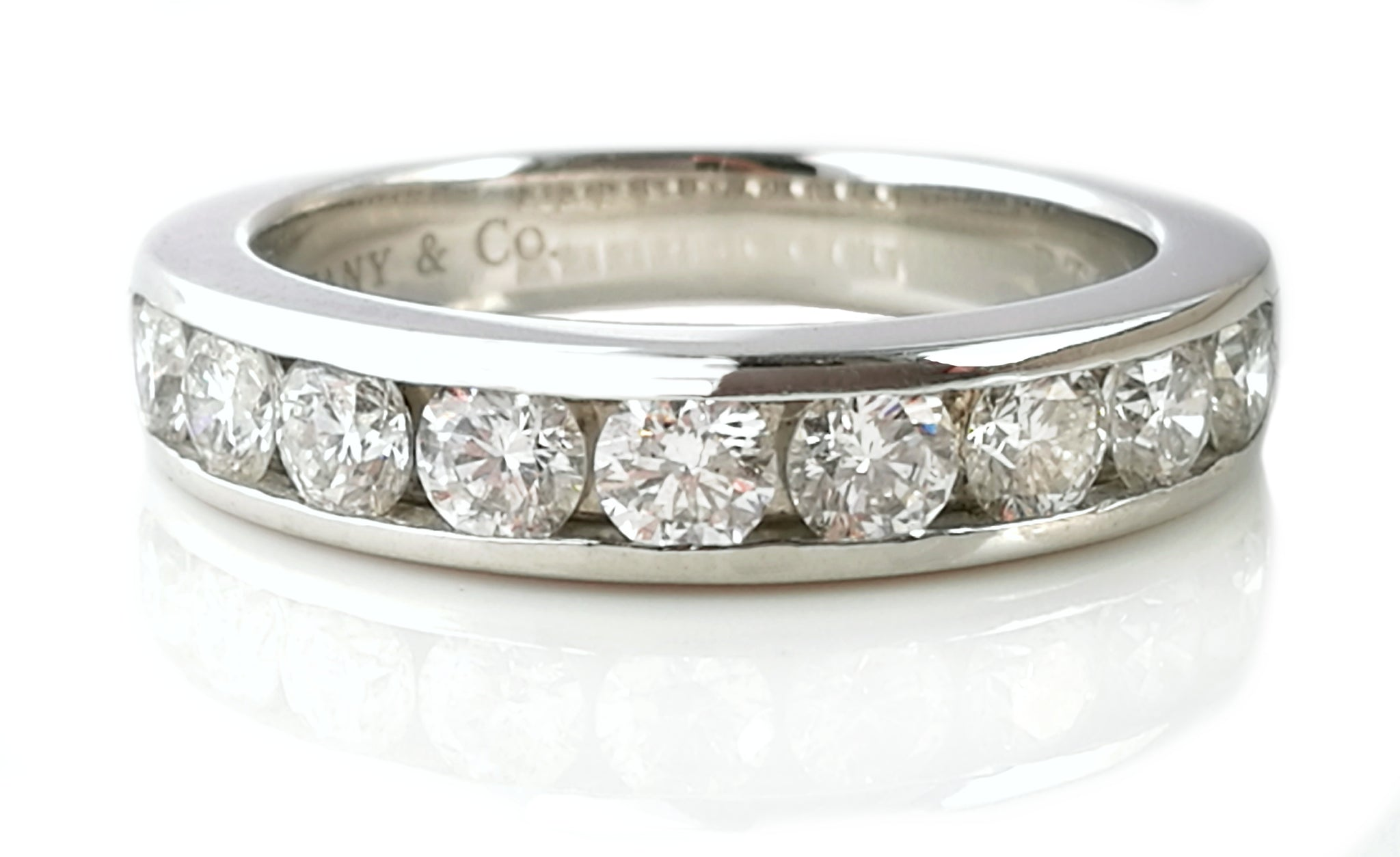 platinum wedding in product ring diamond channel rings set