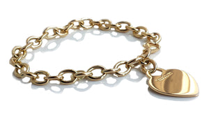 Tiffany & Co 18k Yellow Gold Heart Tag Link Bracelet 7.5 inches