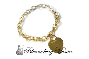 Tiffany & Co. 18k Yellow Gold Heart Tag Link Bracelet, 8 inches