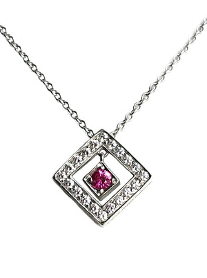 Tiffany & Co. Diamond, Platinum & Pink Sapphire Open Square Pendant