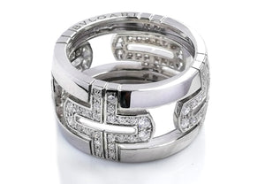 Bulgari Parentesi Pavé Diamond Ring in 18k White Gold, Size 53