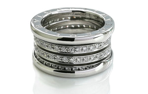 Bulgari B.Zero1 4-Band Diamond Ring in 18k White Gold, Size 52