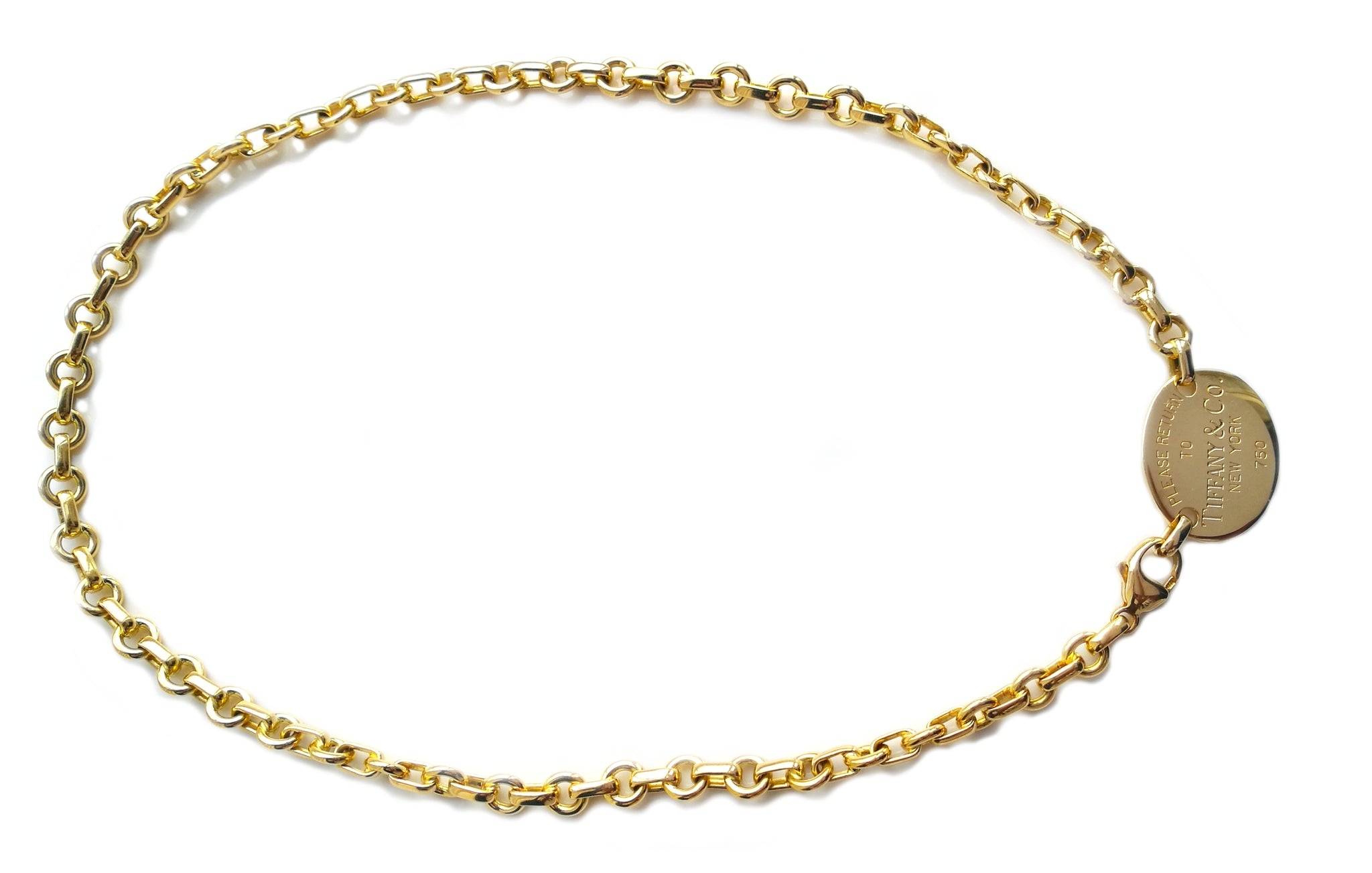 140816376 Tiffany & Co 18k Yellow Gold Oval Return To Choker Necklace 15.5in ...