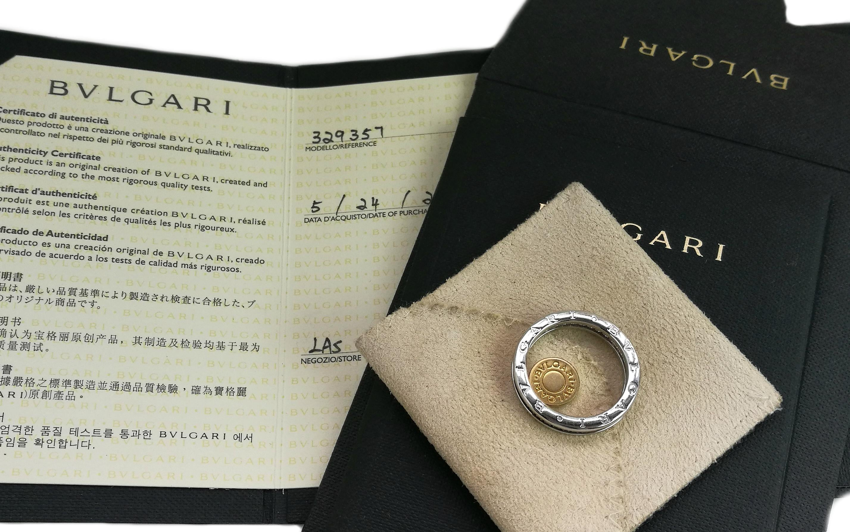 bulgari bzero1 1band diamond ring in 18k white gold size 62