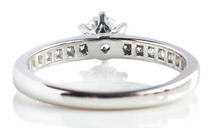 Tiffany & Co .76ct D/VS2 Round Brilliant Diamond Ring with Side Stones SZ K