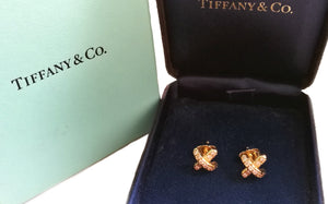Tiffany 18k Gold Diamond Signature X Cross Kiss Earrings 8mm