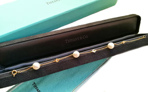 Tiffany & Co. Elsa Peretti 'Diamonds by the Yard' Bracelet in 18k Gold with Pearls