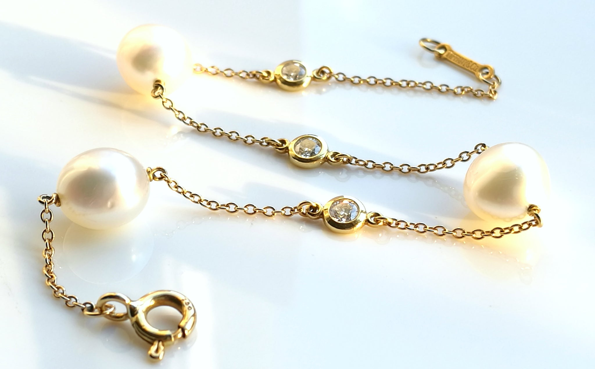 e5355d1f65a9a Tiffany & Co. Elsa Peretti 'Diamonds by the Yard' Bracelet in 18k Gold with  Pearls