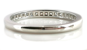 Tiffany & Co. 2mm Channel Set Diamond Platinum Wedding Band / Ring, Size M