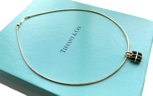 Tiffany & Co. 18k Gold & Black Square Window Cross Pendant / Necklace
