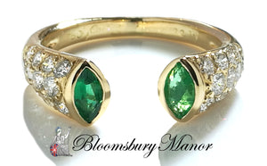 pre-owned, second hand, used, Cartier Diamond Emerald ring