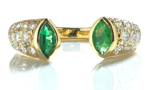 Vintage 1990s Cartier Marquise Cut Emerald, Diamond Pave & 18k Gold Open Ring