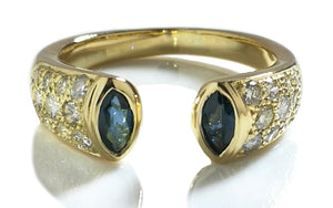 Vintage 90s French Sapphire, Diamond & 18k Yellow Gold Pave Open Front Ring, Sz M/53