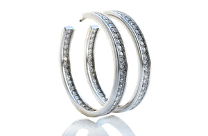 Cartier 3.4ct Diamond & 18k White Gold Large Hoop 'Inside Out' Earrings
