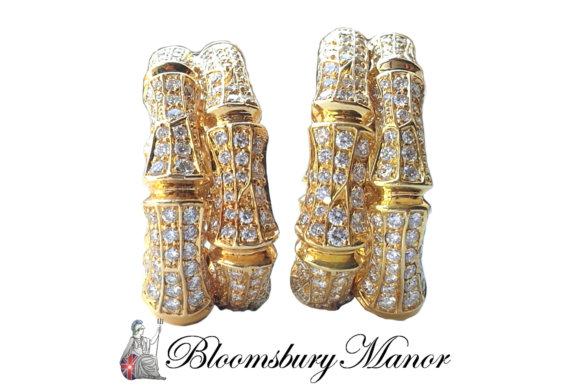pre-owned, second hand, used, vintage, bamboo, Cartier Diamond Earrings
