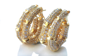 Cartier Bamboo Diamond & 18k Yellow Gold Earrings