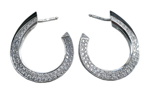 Cartier Panthere 5.0ct Diamond Hoop Earrings in 18k White Gold & Onyx