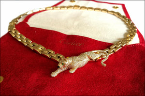Vintage Cartier Pave Diamond & 18k Gold Panthere 3-Row Maillon Necklace with Emerald Eye