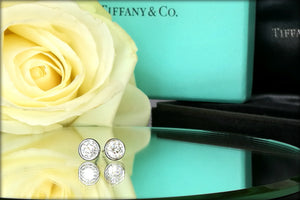 Tiffany & Co .72ct F/VVS2 Peretti Bezet Plat Diamond Stud Earrings Receipt Box