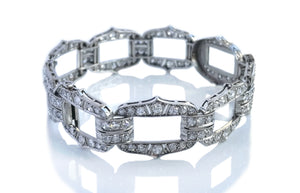 Original French Art Deco Old Cut Diamond Platinum Bracelet 7 in