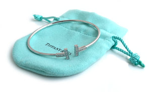 Tiffany & Co T Diamond Bracelet 18k White Gold Medium 18cm