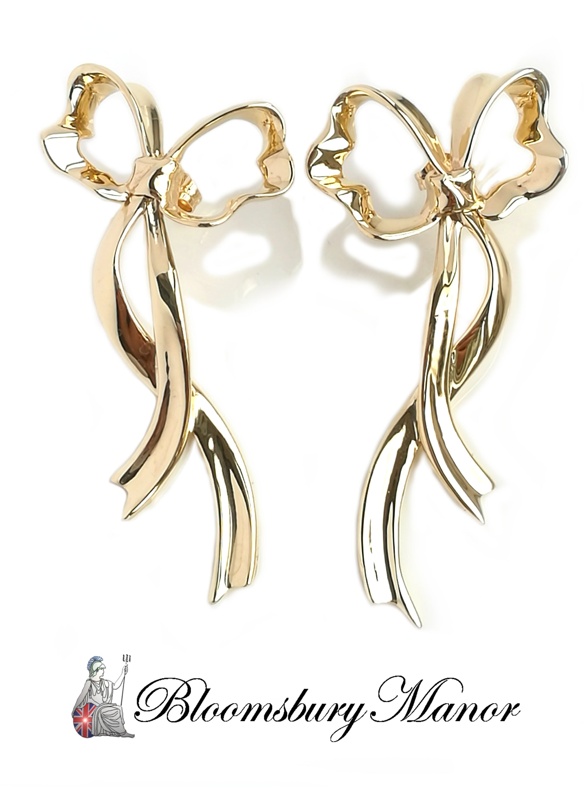 Pre-owned Second Hand Tiffany & Co Ribbon Bow Earrings 18k Gold