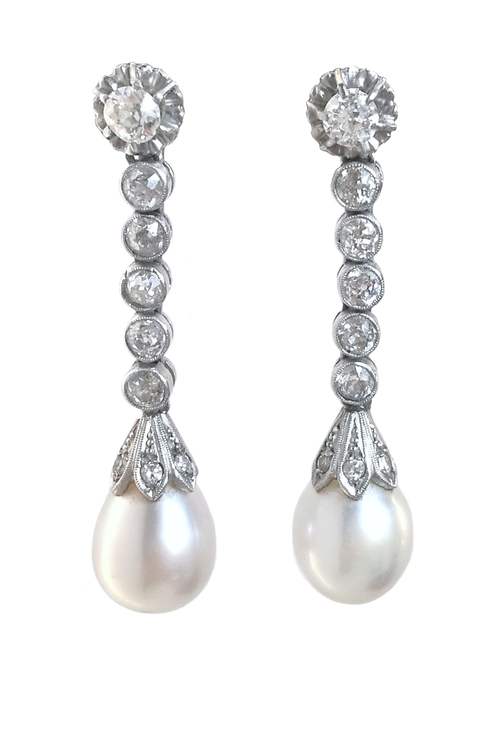 Art Deco 2.0tcw Old Cut Diamond & Cultured Pearl Pendant Earrings