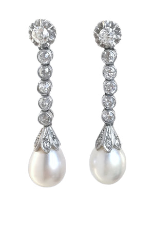 Art Deco Old Cut 2tcw Diamond Cultured Pearl Pendant Earrings 40mm