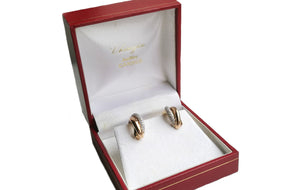 Cartier Trinity Diamond 18k Gold 3 Colour Earrings Certificate