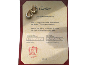 Cartier Hoop, Trinity, Diamond, Earrings, pre-owned, secondhand, used.
