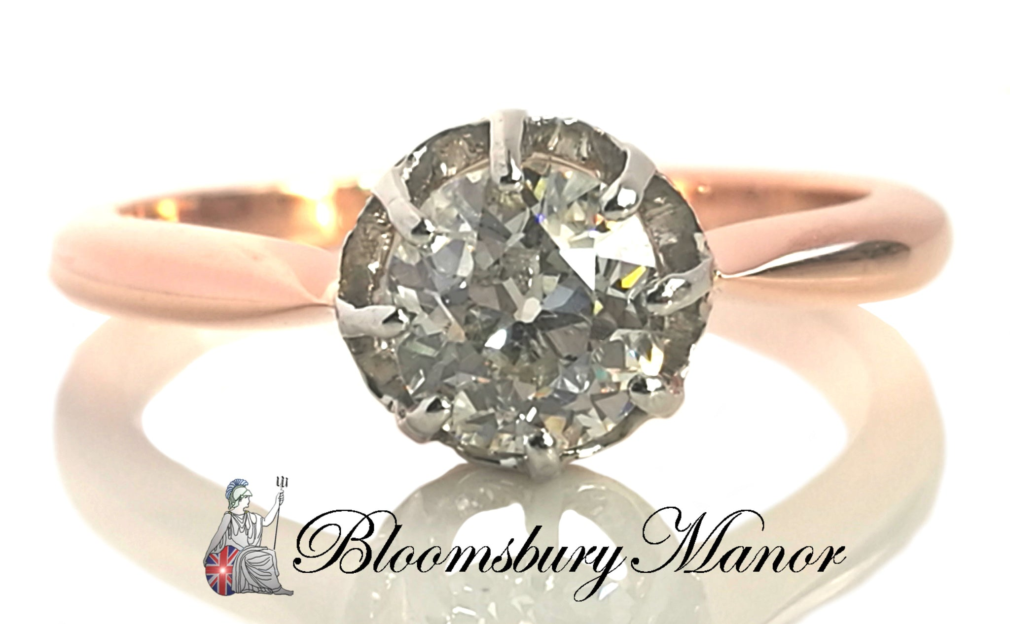 French Edwardian Antique Handmade Old Round Cut .75ct Diamond Engagement Ring